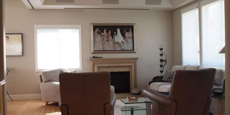 Marin Custom Home Theater-Showing a picture of the hidden plasma and projection Screen.