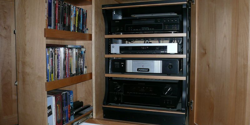 Finished-Cabinet with pull-out A/V rack and media storage.