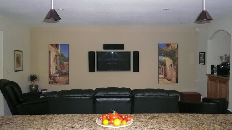 Finished-Plasma wall.  Plasma was mounted at a specific height to allow viewing while cooking in the kitchen.